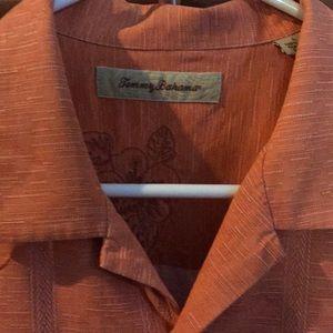Tommy Bahama Large Orange Silk Shirt